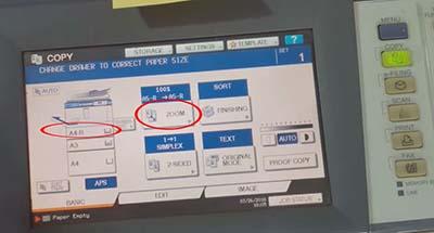 Tiếp tục thao tác trên màn hình máy photocopy Toshiba